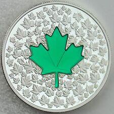 2014 $20 Maple Leaf Impression: Green Enamel - 1 oz. Pure Silver Color Proof