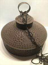 """Large Rustic Punched Tin Hanging Light Fixture Primitive 15"""" X 12 1/2"""""""