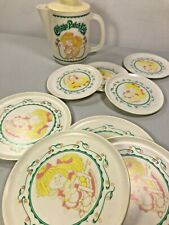 Vintage 1983 Cabbage Patch Kids Pretend Play Plates, Saucers & Pitcher With Lid