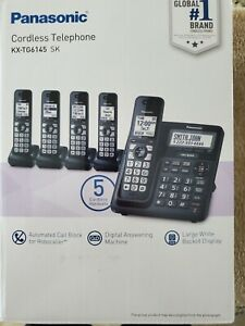 Panasonic KX-TG6145 SK  5-handset Phone Bundle White Backlit Call Block