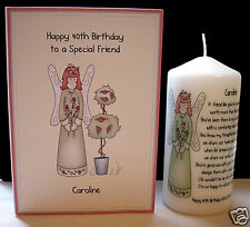 personalised special best friend birthday gift set poem candle & card present