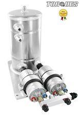 Twin Bosch 044 Fuel Pumps Aluminium Surge Swirl Tank Assembly AN8/AN10 SILVER