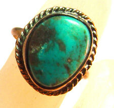"sterling silver & turquoise ring sz 4 1/4, weight 2.5 gms, head = 5/8"" x 1/2"""