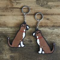Cute BOXER DOG Keyring, Novelty Gift, PVC Dog Key Ring, Bag Charm, FREE P&P