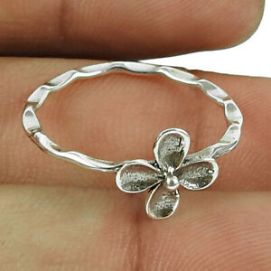 Indian HANDMADE Jewelry 925 Solid Sterling Silver Flower Ring Size Q UU14