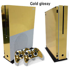 Xbox One S Gold Glossy Console & 2 Controllers Decal Vinyl Skin Wrap Art Sticker