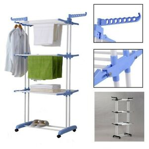 Clothes Airer 3 Tier Laundry Drying Rack Outdoor Indoor Heavy Duty Clothes Horse