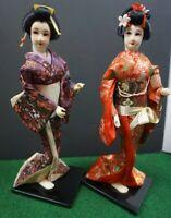"""PAIR OF VINTAGE JAPANESE GEISHA DOLLS 12""""-14"""" TALL"""