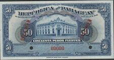 Paraguay , 50 Pesos Fuertes , 25.10.1923 , P 165s , Red back , Rare