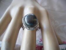 Antique Art Deco Vintage Genuine large Black Pearl Sterling Silver Ring size 8
