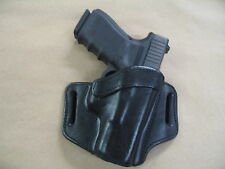 Glock 19, 23, 32 OWB Leather 2 Slot Molded Pancake Belt Holster CCW BLACK RH