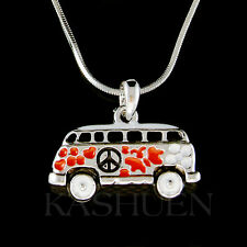 Red Volkswagen VW Hippie Bus enamel Peace Sign Van Vanagon Car Pendant Necklace