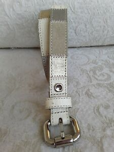"""Fossil Sz M 34"""" Patchwork Leather Suede Belt Gold Silver Tan Cream .75"""" Wide"""