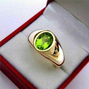 2Ct Oval Cut Green Peridot Engagement Wedding Band Ring Men's 14K Yellow Gold Fn