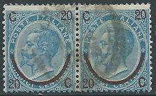 1865 REGNO USATO SOPRASTAMPATO 20 SU 15 CENT I TIPO COPPIA - S23-2