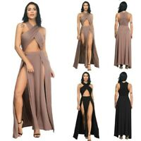 UK Women Summer Boho Sexy Party Evening Beach Dresses Long Maxi Dress Sundress