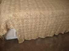 Antique Ecru Cotton Lace Coverlette Bedspread Handmade Ohio Amish Country
