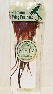 Metz Hackle Ginger Saddle No. 2 Premium Fly Fishing Tying Feathers Reddish Brown
