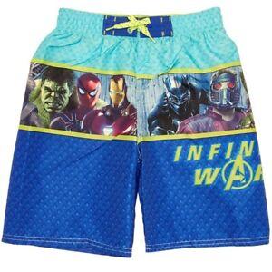 MARVEL AVENGERS INFINITY WAR UPF-50+ Bathing Suit Swim Trunks Boys Size 5/6  $25