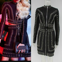 Black long sleeves Beading Coat Two Pieces Celebrity prom Party Gown herve leger