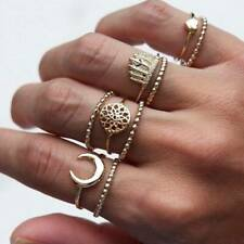 Women Bohemian Carved Rings Set Gold Crystal Knuckle Finger Ring SU