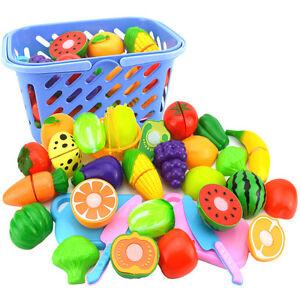 1Set Kids Plastic Kitchen Pretend Toy Fruit Vegetable Food Cutting Set Safe Gift