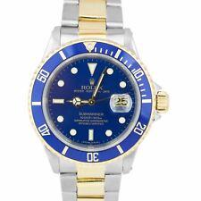 1990 Rolex Submariner Fecha 16613 Dos Tonos Oro Acero Inoxidable Reloj De 40mm Azul