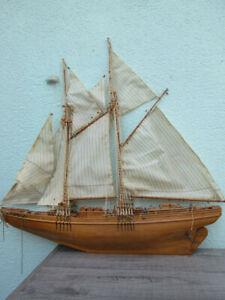 maquette de voilier goélette bois 55 cm pour restauration