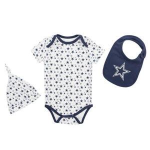 Dallas Cowboys NFL Infant Boys' Cap, Bib & Bodysuit Set, Size 12 Months - NWT