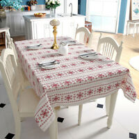 White Christmas Tablecloth Dining Kitchen Table Cloth Cover Doilies Party Decor