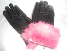 Ladies Red  Rabbit Fur Cuffed Genuine Leather Gloves,Black,Large