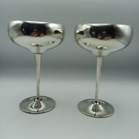 Pair of Vintage Silver Plated County Plate Coupe Champagne Cups by Arthur Price