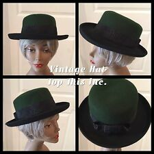 """Vintage Ladies Hat by """"Top This Inc"""" Black Rim Green Top Black Band Bow In Back"""