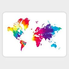 World Of Color Map Countries Vinyl Decal Decor Wall Bumper Laptop Sticker