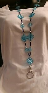 Sky blue Acrylic flower/circle beaded Lanyard with Breakaway release USA Badge