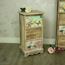 Floral 3 drawer bedside chest of drawers shabby vintage chic bedroom furniture