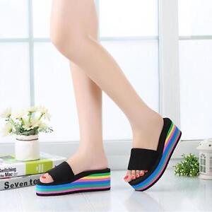 Summer Women's Casual Flip Flops Sandal Rainbow High Platform Wedge Slippers LL