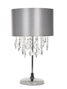 Kliving Sheldon Chrome Table Lamp with Beaded Acrylic Droplets Silver Lamp Shade