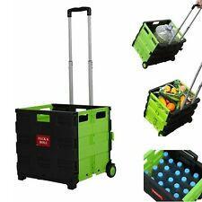 Folding Shopping Utility Cart Portable Rolling Crate Collapsible Grocery Trolley