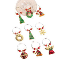6Pcs Lovely Christmas Wine Glass Charm Cup Ring Party Pendant Decor Ornament AU