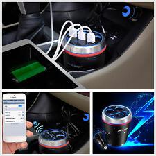 3-USB 2 Cigarette Lighter Car Voltage Display Bluetooth Handsfree FM MP3 Player