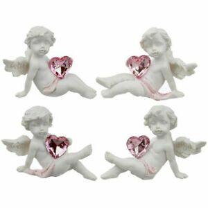 Set Of 4 Collectable Peace of Heaven Playful Heart Cherub Figurine Ornament