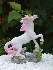 Miniature Dollhouse FAIRY GARDEN ~ Prancing Pink & White Unicorn ~ NEW