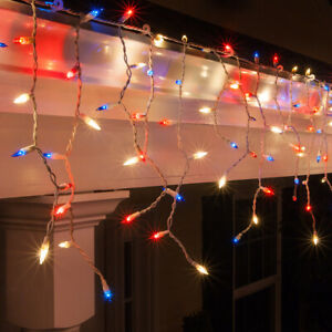 Patriotic Red White Blue Icicle Lights July 4th String Lights Decor, 150 Lights