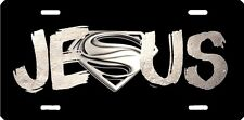 Jesus Superman silver airbrushed car tag license plate 11