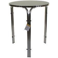 Bistro Table Chrome Round Stacking Patio Outdoor Cafe Restaurant Aluminium 70cm