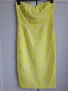River Island Size 12 -14 Cream And Yellow Lace Pencil Dress