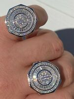 Large Real Solid 925 Sterling Silver Men's Baguette Diamond Pinky Ring Hip Hop