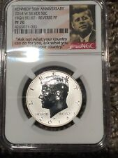 2014 W REVERSE PROOF KENNEDY SILVER HALF DOLLAR NGC PF70 HIGH RELIEF