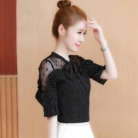 Womens Lace Off Shoulder Chiffon T Shirt Summer Ruffle Short Sleeve Blouses Tops